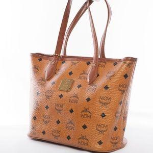 MCM Cognac Visetos Small Shopper Tote w/ Bag Charm